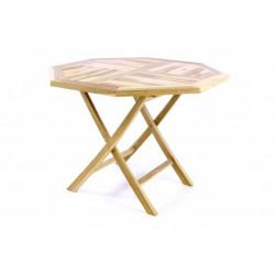 Skladací stolík DIVERO - teakové drevo - 100 cm