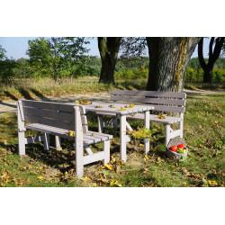 Záhradná drevená masívna lavica VIKING sivá - 150 cm