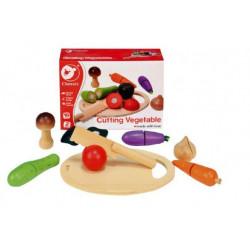 Zelenina krájecí s prkénkem dřevo 16ks 21,5x15x7cm v krabici 24m+