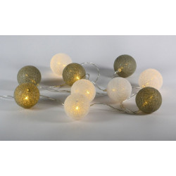 LED svetelná dekorácia - tkaná guľa - 10 LED teplá biela