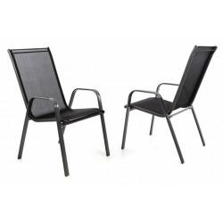 Záhradná sada 2 x stohovateľná stolička balkónová - čierna