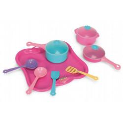 Party World - Tác s hrnky nádobí plast 11 ks růžový Wader 28x28x10cm