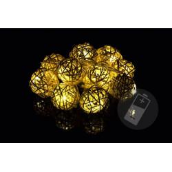 Vianočná dekorácia - 10 ks svetelných gúľ - teplá biela, 10 LED diód