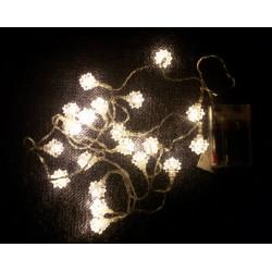 Vianočná dekorácia - Snehová hviezda - 20 LED teplá biela