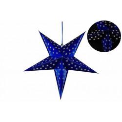 Vianočná dekorácia - hviezda s časovačom 60 cm - 10 LED, modrá