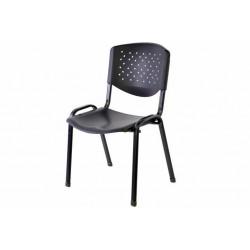Stohovateľná plastová kancelárska stolička - čierna